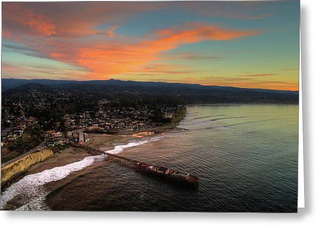 Capitola Beach Sunrise Greeting Card by David Levy