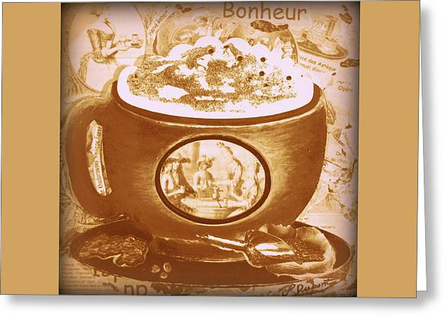 Cappuccino Ventage Happiness, Pink And Brown Greeting Card by Louise Dupont