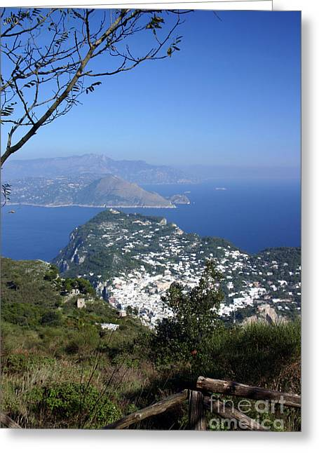 Capri At The Top Greeting Card by Dennis Curry