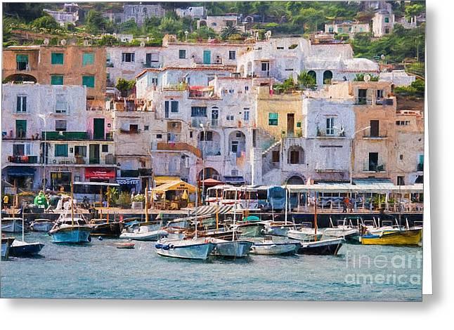 Capri Boat Harbor Greeting Card