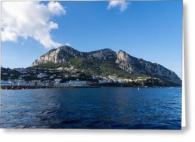 Capri Island From The Sea Greeting Card by Georgia Mizuleva