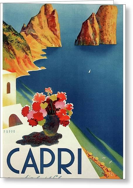 Capri Island Of The Sun - Italy Vintage Travel  1952 Greeting Card by Daniel Hagerman