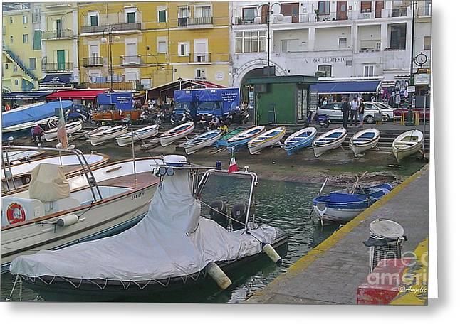 Capri Small Harbor Greeting Card by Italian Art