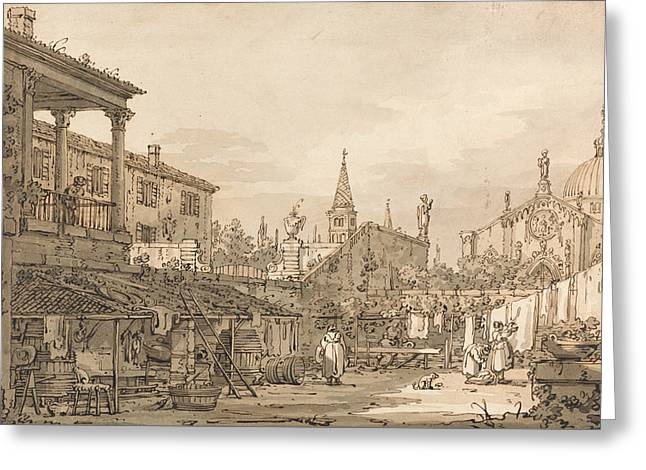 Capriccio Of A Venetian Courtyard Greeting Card by Canaletto