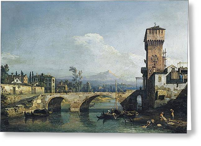 Capriccio With A River And Bridge Greeting Card