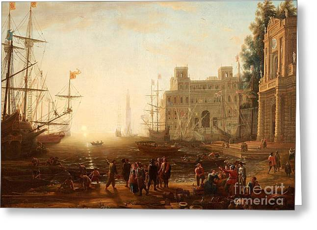 Capriccio With An Harbour With Villa Medici And Figures Greeting Card by Celestial Images