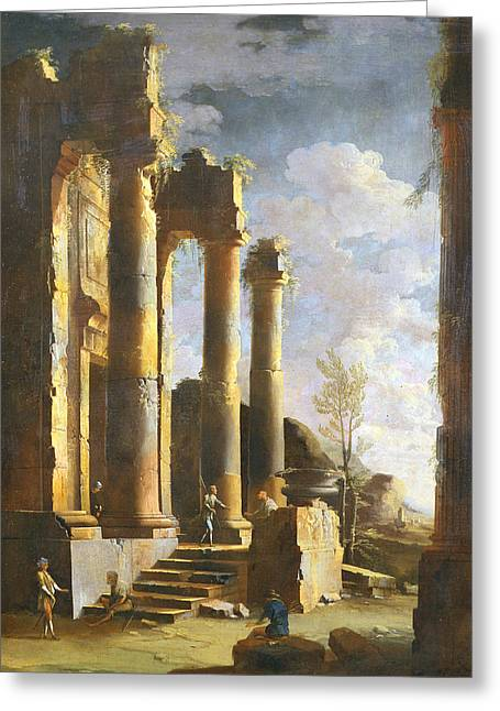 Capriccio With Ancient Ruins And Figure, Dawn Greeting Card by Leonardo Coccorante