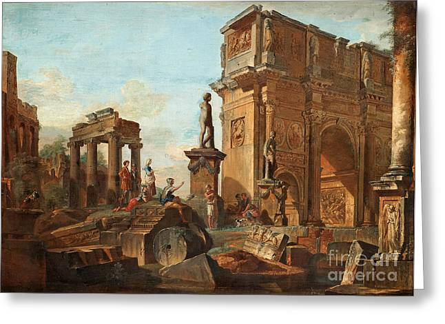 Capriccio With Figures At The Roman Ruins And The Arch Of Constantine Greeting Card