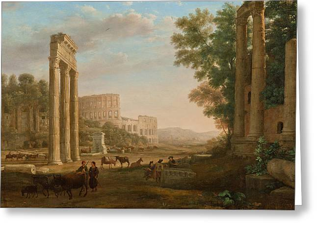 Capriccio With Ruins Of The Roman Forum Greeting Card