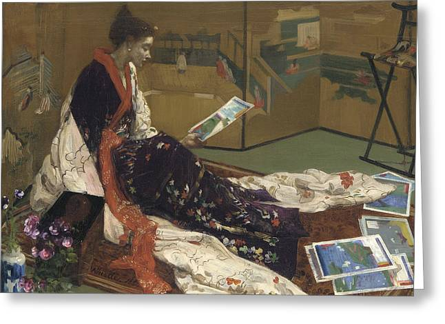 Caprice In Purple And Gold Greeting Card by James Abbott McNeill Whistler