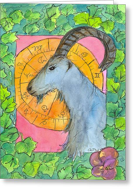 Greeting Card featuring the painting Capricorn by Cathie Richardson