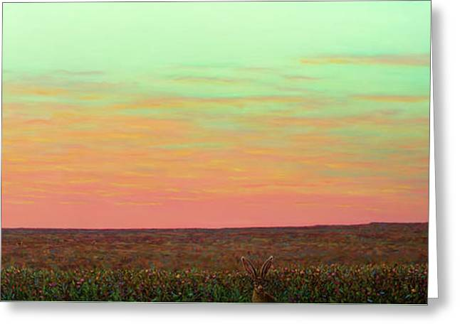 Caprock Sunrise With Bunny Holly Greeting Card