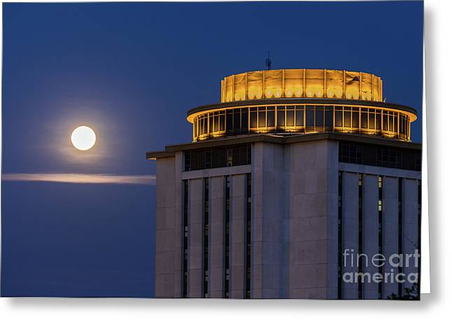 Capstone House And Full Moon Greeting Card