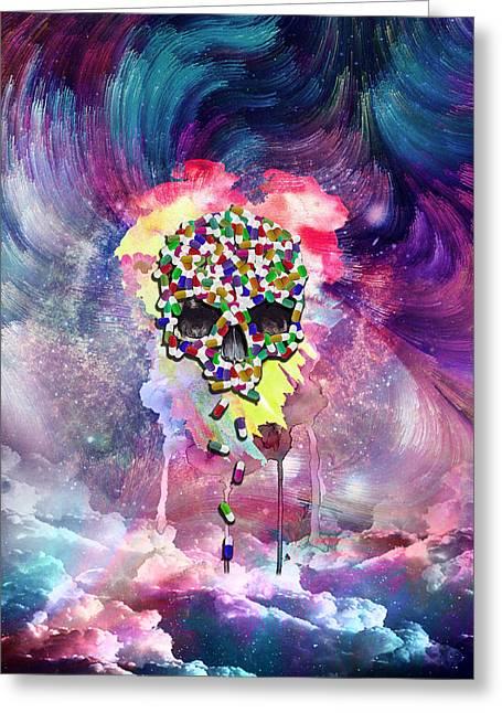 Capsule Skull Greeting Card by Samet Sevincer
