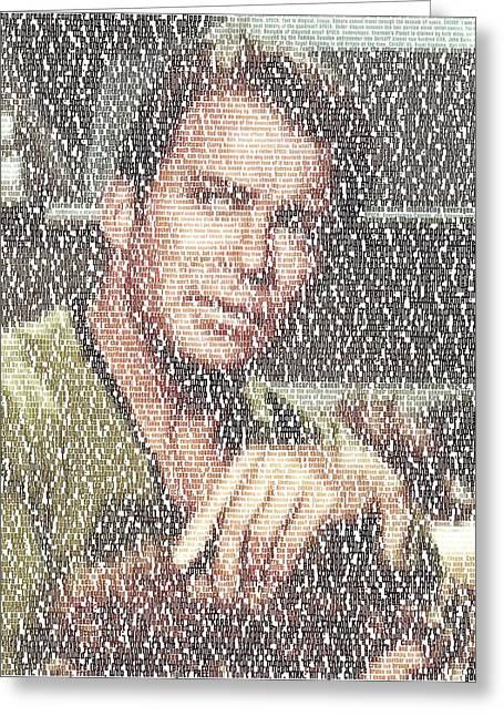 Capt. Kirk Tribble Script Mosaic Greeting Card by Paul Van Scott