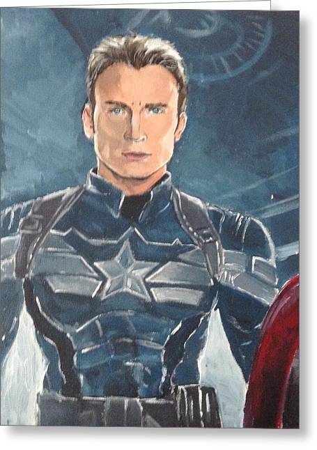 Captain America Greeting Card by Alana Meyers