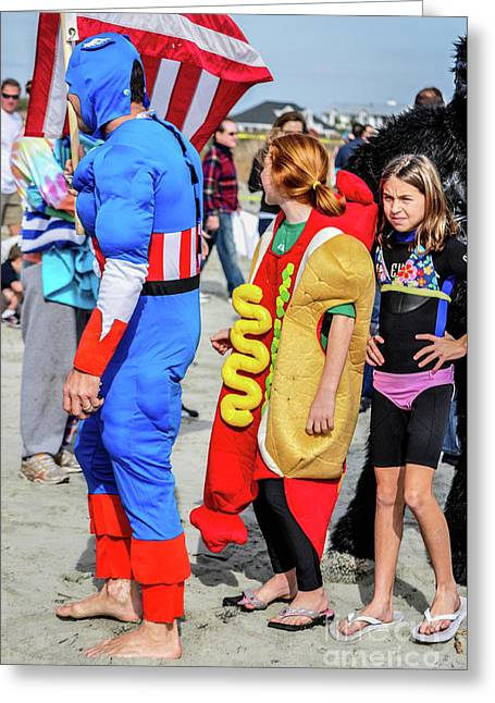 Captain America And The Armour Hotdog Greeting Card by Yvette Wilson