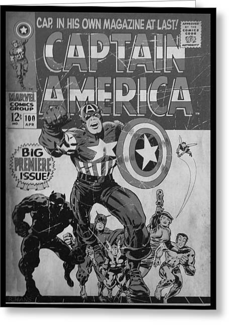 Captain America B W Greeting Card