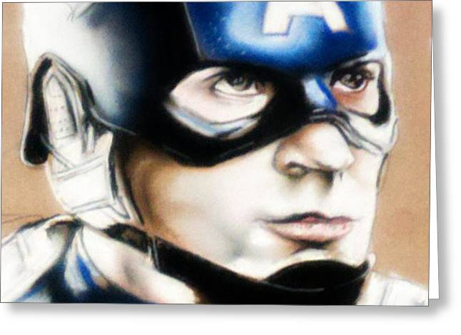 Captain America Greeting Card by Bobby Boyer
