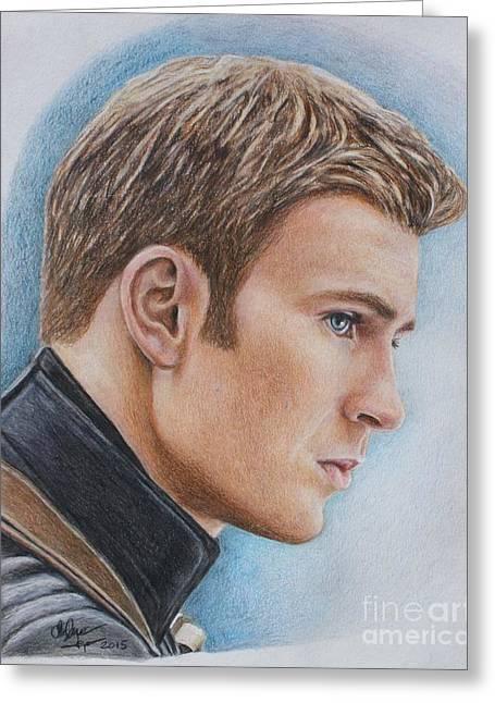Captain America / Chris Evans Greeting Card by Christine Jepsen