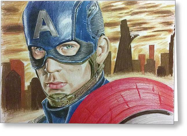 Captain America Greeting Card by Michael McKenzie