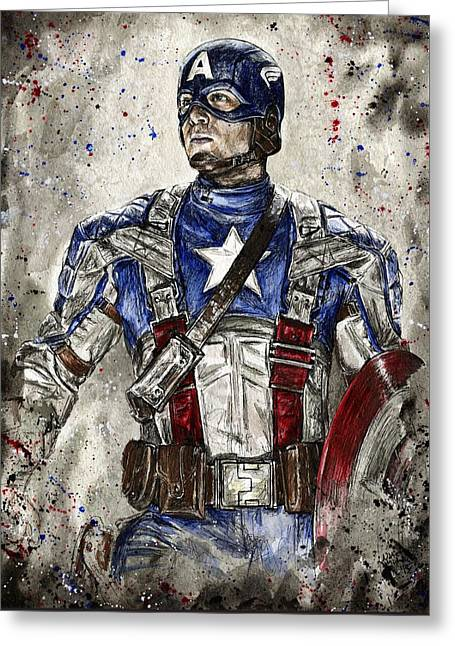 Captain America Greeting Card by Nate Michaels