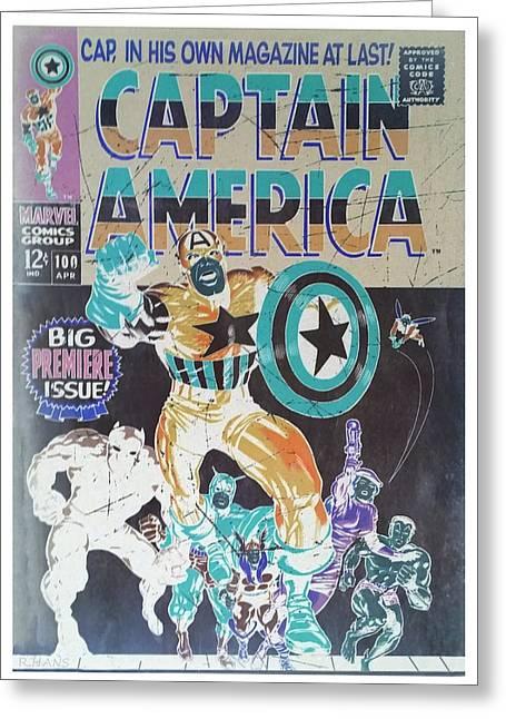 Captain America Negative Greeting Card