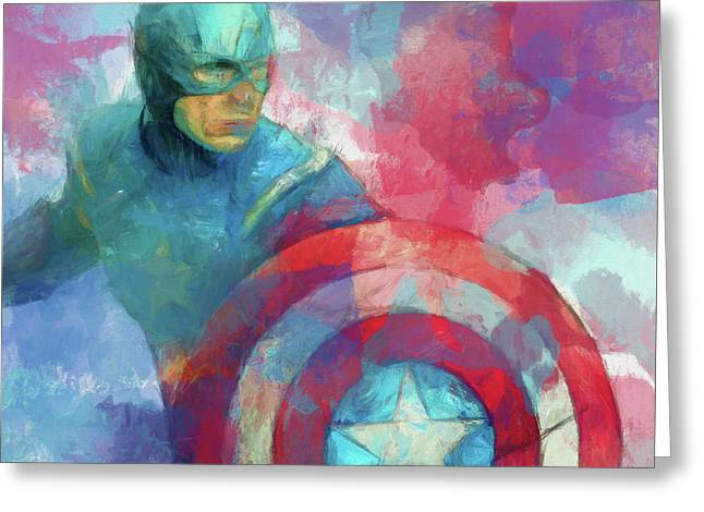Captain America Paint Greeting Card by Dan Sproul
