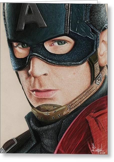 Captain America Greeting Card by Rafael Lima da Cunha