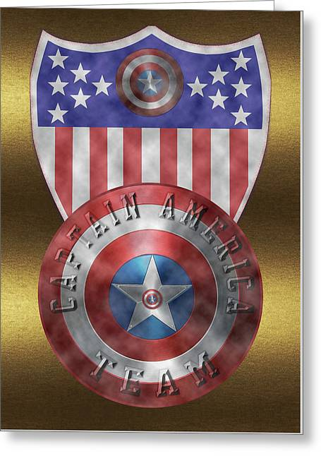 Greeting Card featuring the painting Captain America Shields On Gold  by Georgeta Blanaru