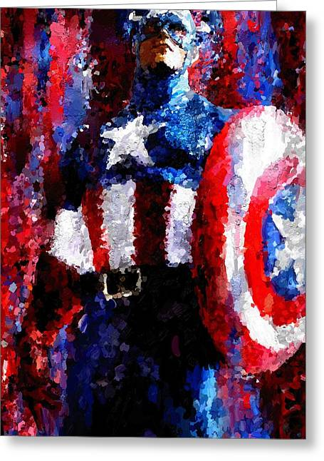 Leon Jimenez Greeting Cards - Captain America Signed Prints available at laartwork.com Coupon Code KODAK Greeting Card by Leon Jimenez