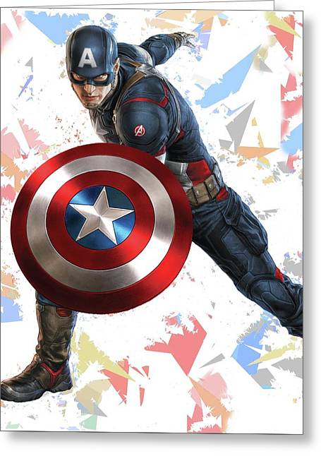 Greeting Card featuring the mixed media Captain America Splash Super Hero Series by Movie Poster Prints