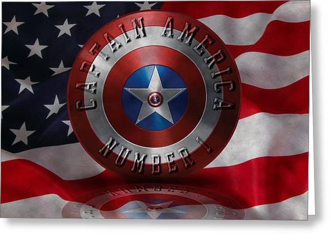 Greeting Card featuring the painting Captain America Typography On Captain America Shield  by Georgeta Blanaru