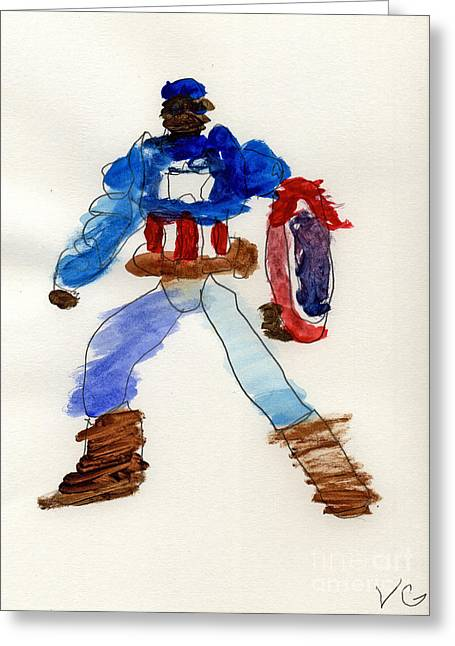 Captain America Greeting Card by Vincent Gitto