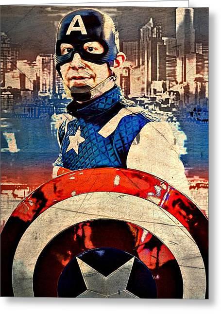 Captain America Vintage Portrait Greeting Card