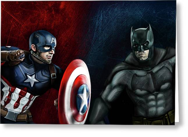 Captain America Vs Batman Greeting Card by Vinny John Usuriello