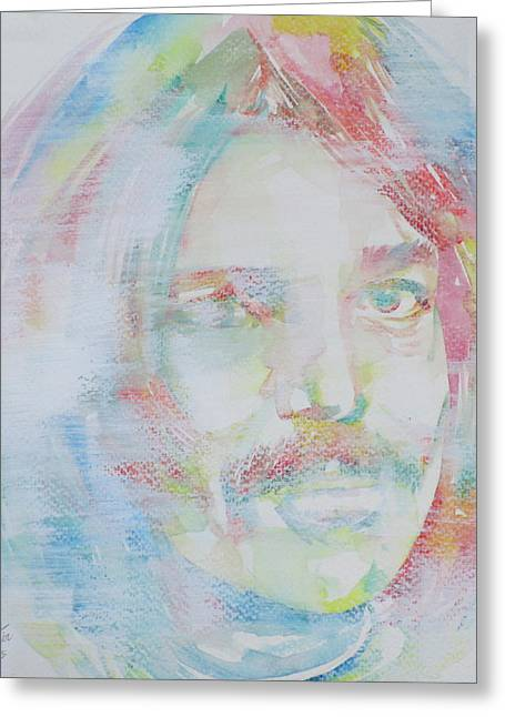 Captain Beefheart - Watercolor Portrait.6 Greeting Card by Fabrizio Cassetta