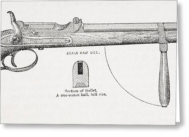 Captain Burton S Carbine Pistol And Greeting Card by Vintage Design Pics