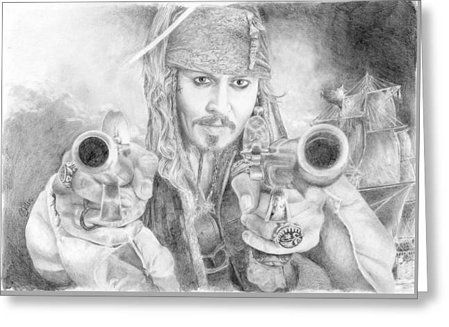 Captain Jack Sparrow And The Black Pearl Greeting Card by Bitten Kari