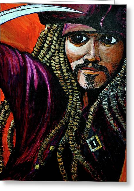 Captain Jack Sparrow Greeting Card by Bob Crawford
