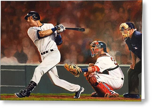 Captain - Jeter Greeting Card by Rick Fitzsimons