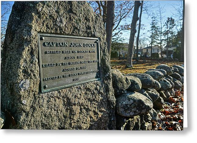Greeting Card featuring the photograph Captain John Locke Monument  by Wayne Marshall Chase