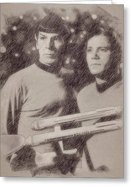 Captain Kirk And Spock From Star Trek Greeting Card by Esoterica Art Agency