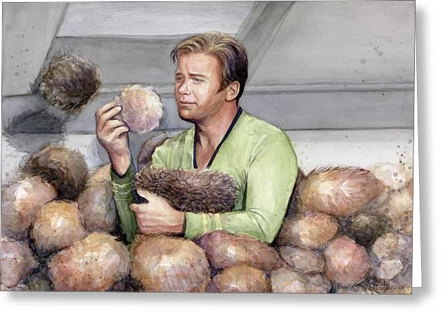 Captain Kirk And Tribbles Greeting Card by Olga Shvartsur