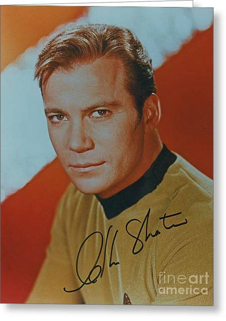 Captain Kirk Autographed Poster Greeting Card
