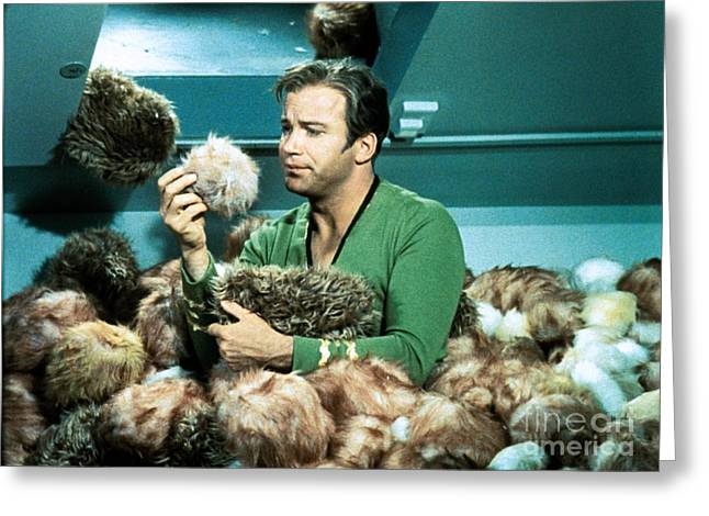 Captain Kirk Up To His Chest In Tribbles Greeting Card