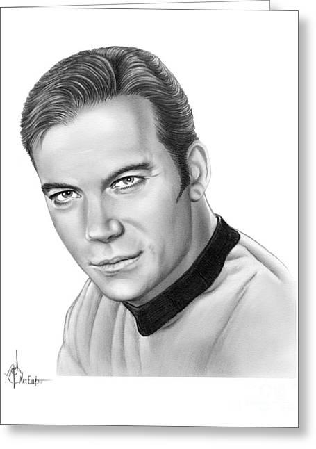 Captain Kirk- William Shatner Greeting Card by Murphy Elliott