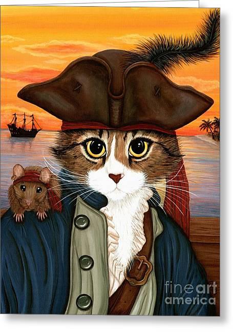Captain Leo - Pirate Cat And Rat Greeting Card