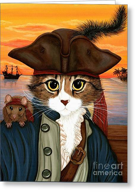 Captain Leo - Pirate Cat And Rat Greeting Card