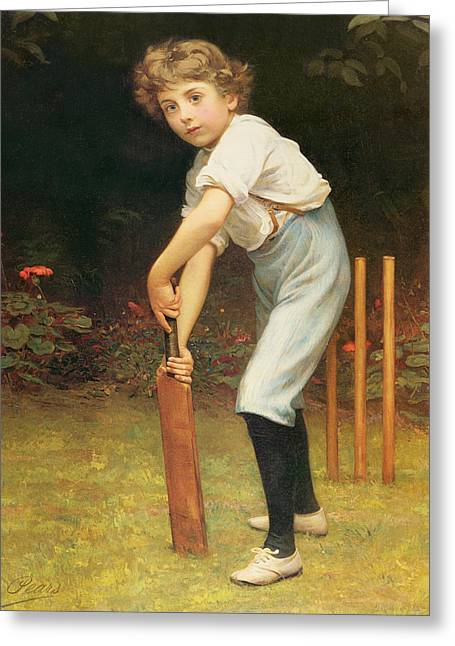 Cricket Paintings Greeting Cards - Captain of the Eleven Greeting Card by Philip Hermogenes Calderon